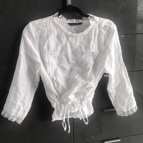 Zara Tops - White Linen Blouse